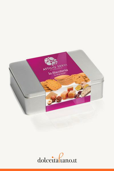 """Scatola contenente 2 confezioni in latta della serie """"Le Selezioni"""" dei biscotti di Attilio Servi kg 0,50"""