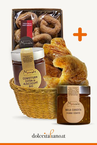 Colazione Week: 4 Croissant + Torcettini Saint Vincent + Confettura Extra di Albicocche Bio + Mele candite