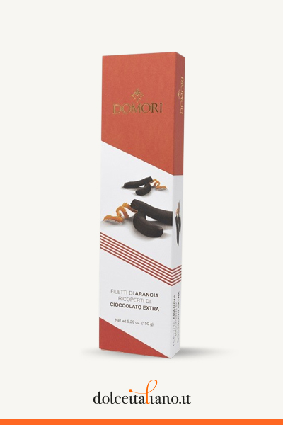 Filetti di arancia ricoperti di cioccolato fondente di Domori