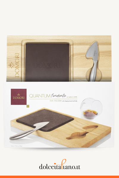 Dark Chocolate Quantum with wooden board and knife by Domori