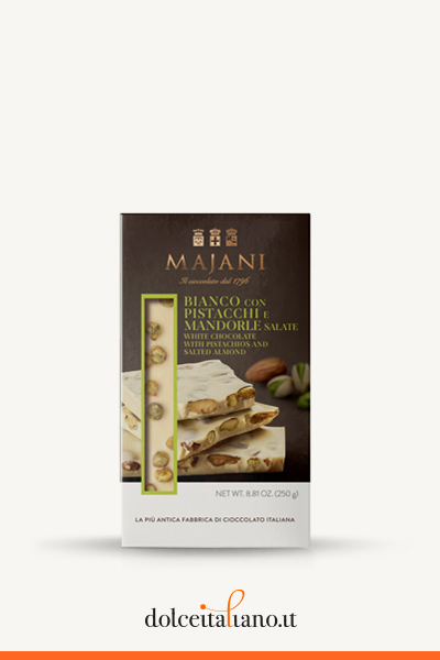 Snap - White Chocolate with Pistachios and Salted Almonds big Bar by Majani 1796