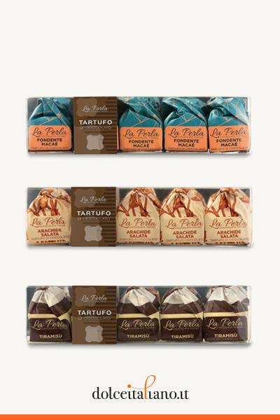 3 Chocolate Truffles clear box: The New La Perla di Torino