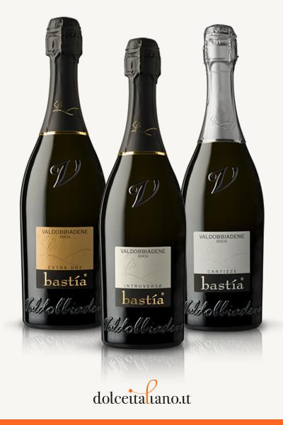 Kit da 2 bottiglie di Vino Extra Dry + 2 bottiglie di Vino Introverso Extra Brut + 2 bottiglie di Vino Cartizze Spumante Dry di Valdobbiadene D.O.C.G. Bastia