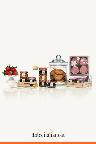 Cassetta di legno da 4 vasi da 42g (3 confetture + 1  miele) di Agrimontana