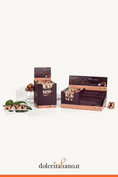 Espositore da banco – 3 vaschette e 4 astucci di marron glacés 4 frutti di Agrimontana