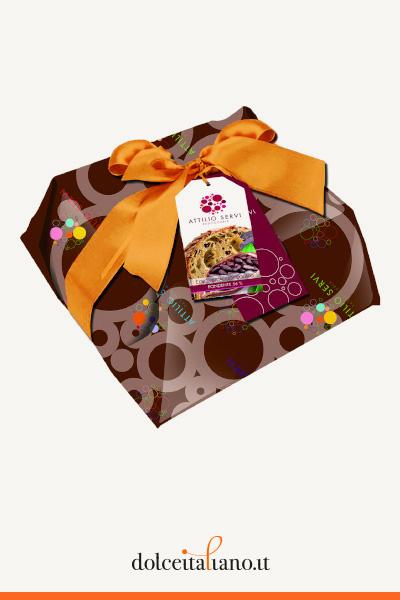 Colomba con gocce di cioccolato fondente 56% di Attilio Servi (Incarto a Mano)