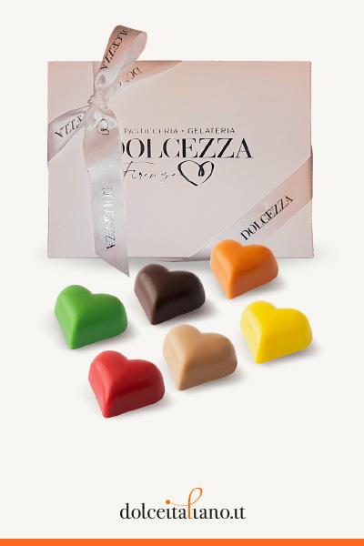 Confezione da 24 cioccolatini Giraudi forma cuore gusti assortiti