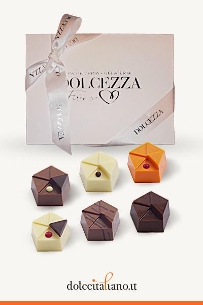 Confezione da 6 cioccolatini Giraudi forma pentagono gusti assortiti di Dolcezza Firenze