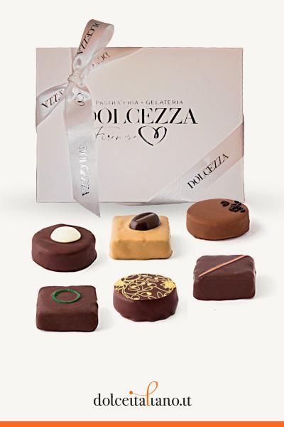 Confezione da 12 cioccolatini Giraudi forma di carrè e rondò gusti assortiti