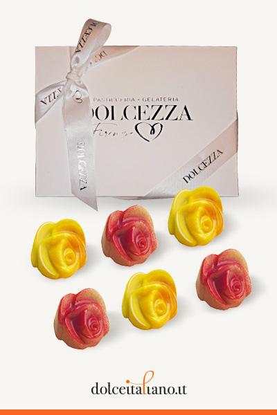 Confezione da 6 cioccolatini Giraudi forma di rosa gusti assortiti