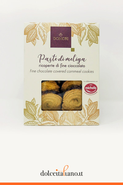 Paste di meliga ricoperte di cioccolato fondente di Domori